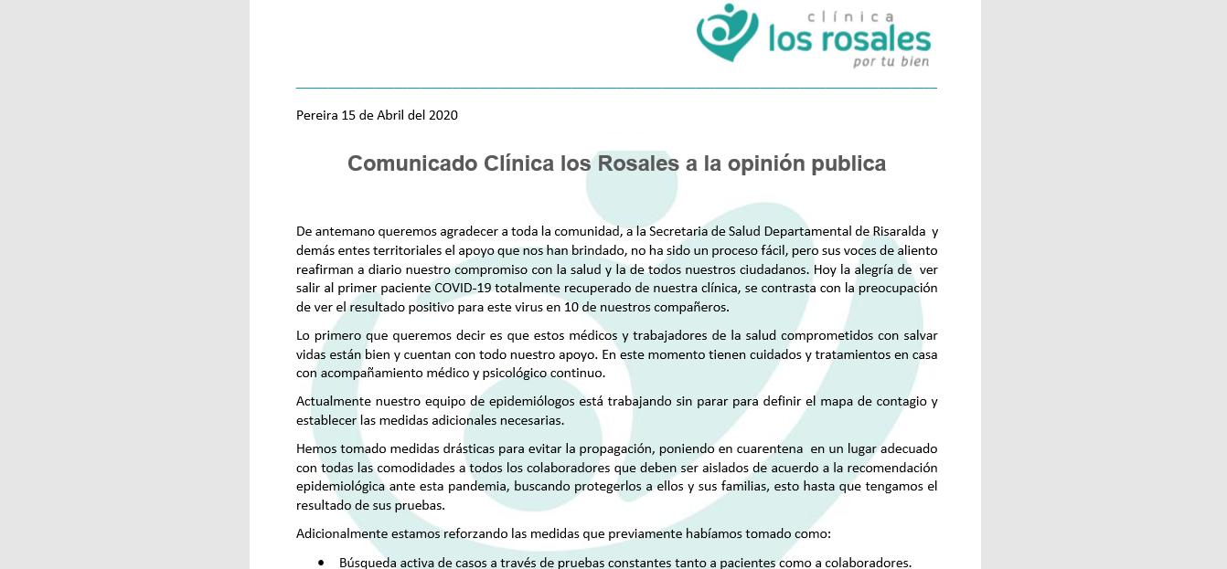 COMUNICADO CLÍNICA LOS ROSALES A LA OPINIÓN PÚBLICA